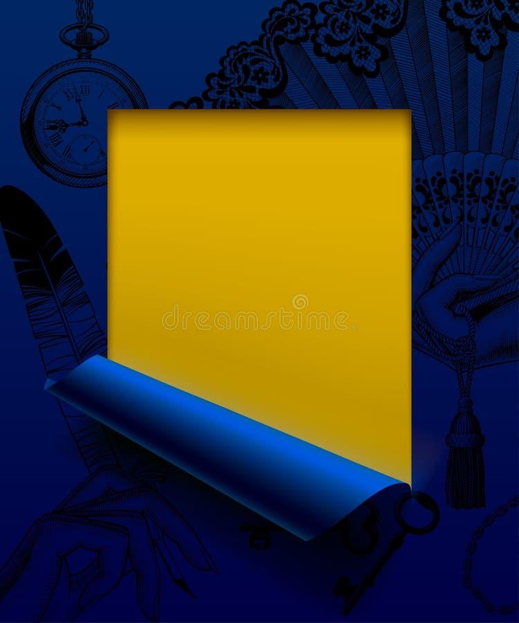 Отрезок листа голубой бумаги обрамленный и частично свернутый вверх с годом сбора винограда иллюстрация штока