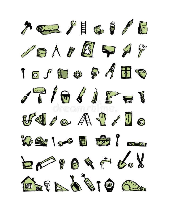 Отремонтируйте домашние значки, эскиз для вашего дизайна иллюстрация вектора