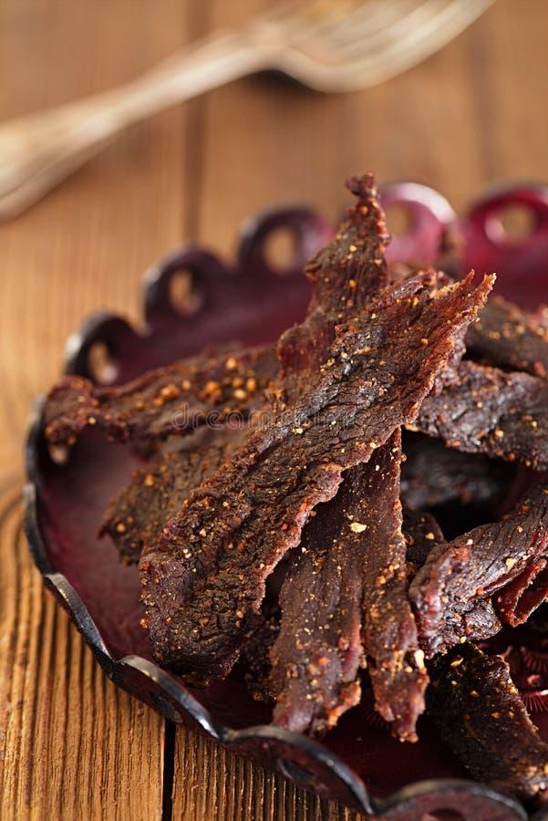 Отрывистой мясо вылеченное говядиной spiced стоковое фото rf