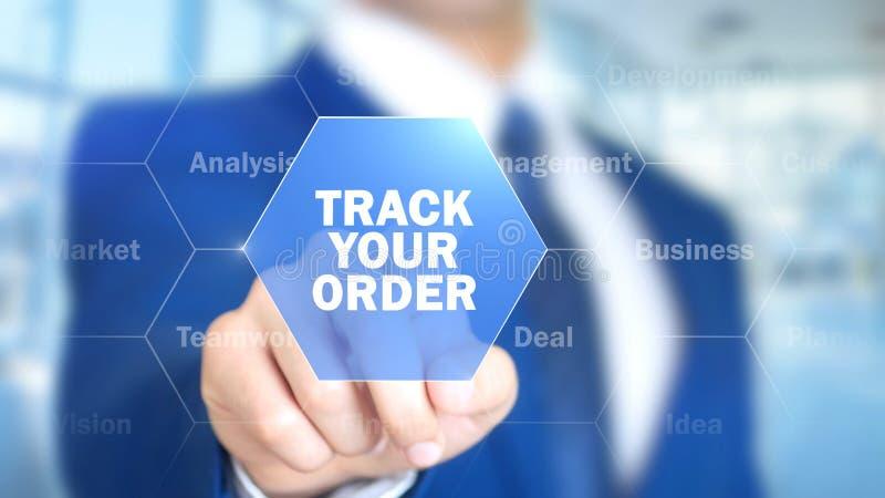 Отслеживайте ваш заказ, человека работая на голографическом интерфейсе, визуальном экране стоковое фото
