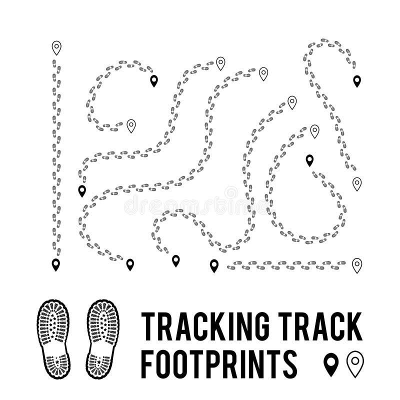 Отслеживать человеческих следов ноги для того чтобы отслеживать пути прогулки Силуэт от ботинок также вектор иллюстрации притяжки иллюстрация вектора