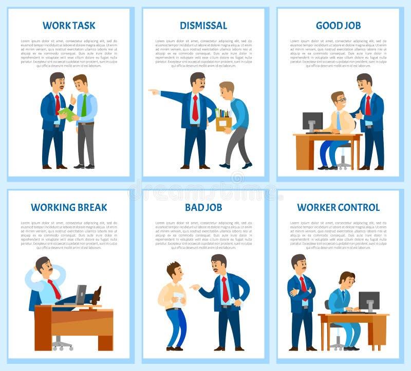 Отставка работника рабочего задания и заказа работодателем иллюстрация штока