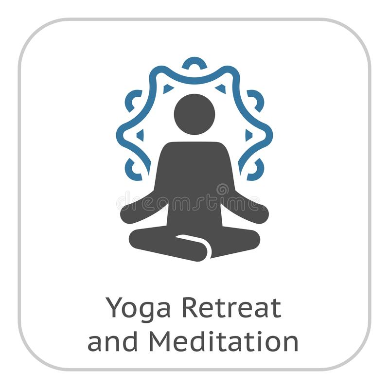 Отступление йоги и значок раздумья Плоским иллюстрация изолированная дизайном иллюстрация штока