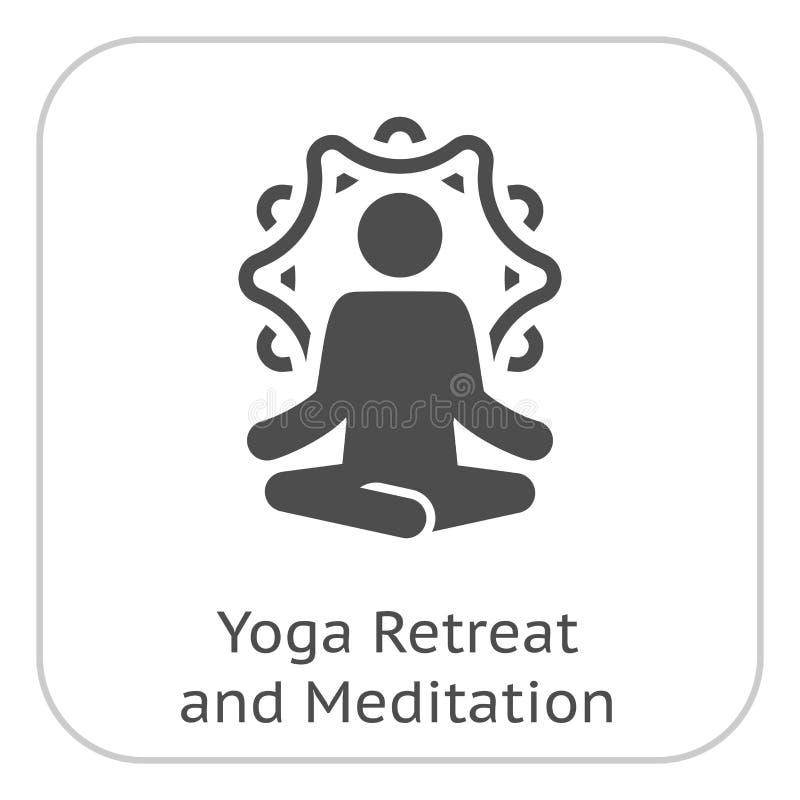 Отступление йоги и значок раздумья Плоским иллюстрация изолированная дизайном бесплатная иллюстрация