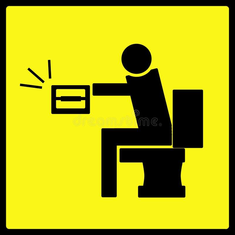 отсутствие бумажного предупреждения туалета знака иллюстрация вектора