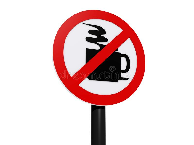 Отсутствие знака зоны кофе на столбе иллюстрация штока
