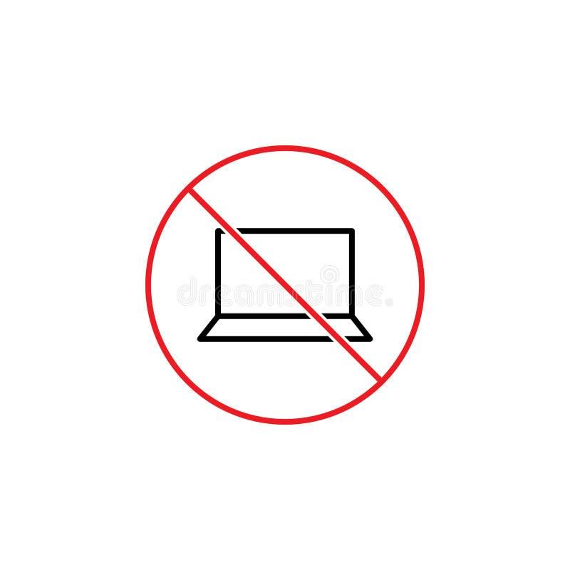 Отсутствие знака компьтер-книжки на белой предпосылке иллюстрация штока