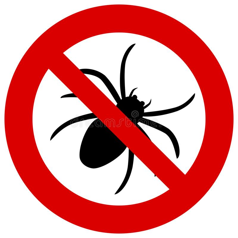 Отсутствие знака паука Запрещенный значок ошибки Запрещенное clipart насекомого r иллюстрация штока