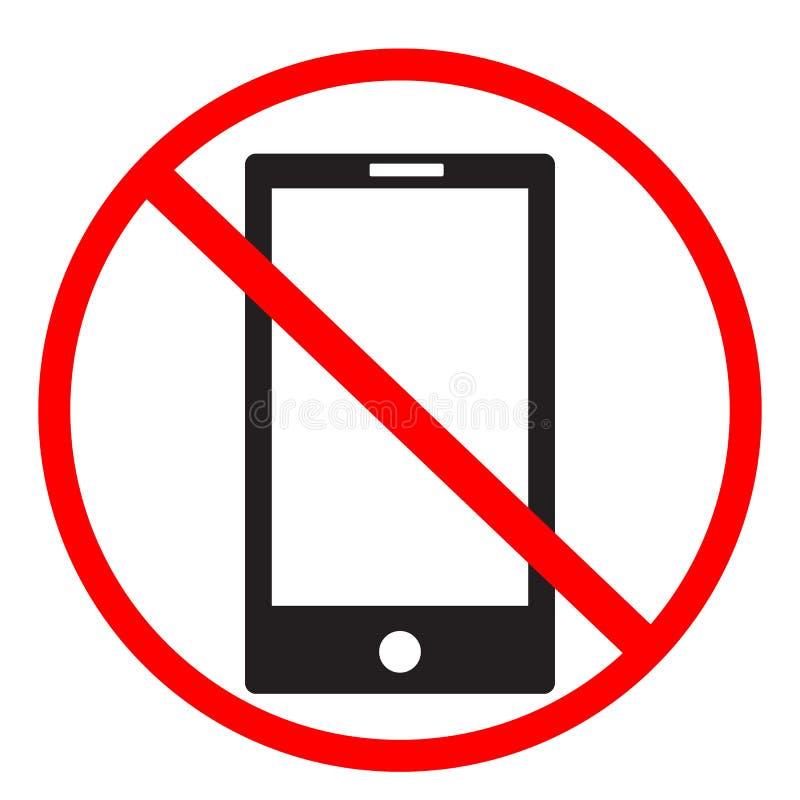 Отсутствие знака сотового телефона на белой предпосылке отсутствие значка мобильных телефонов иллюстрация штока