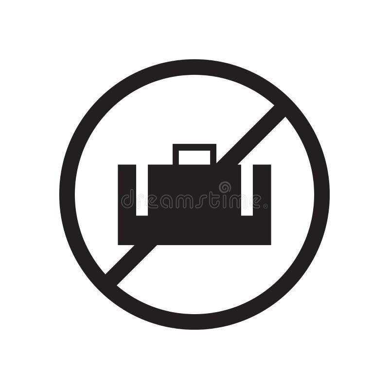 Отсутствие знак и символ вектора значка багажа изолированные на белой предпосылке, отсутствие концепции логотипа багажа иллюстрация штока