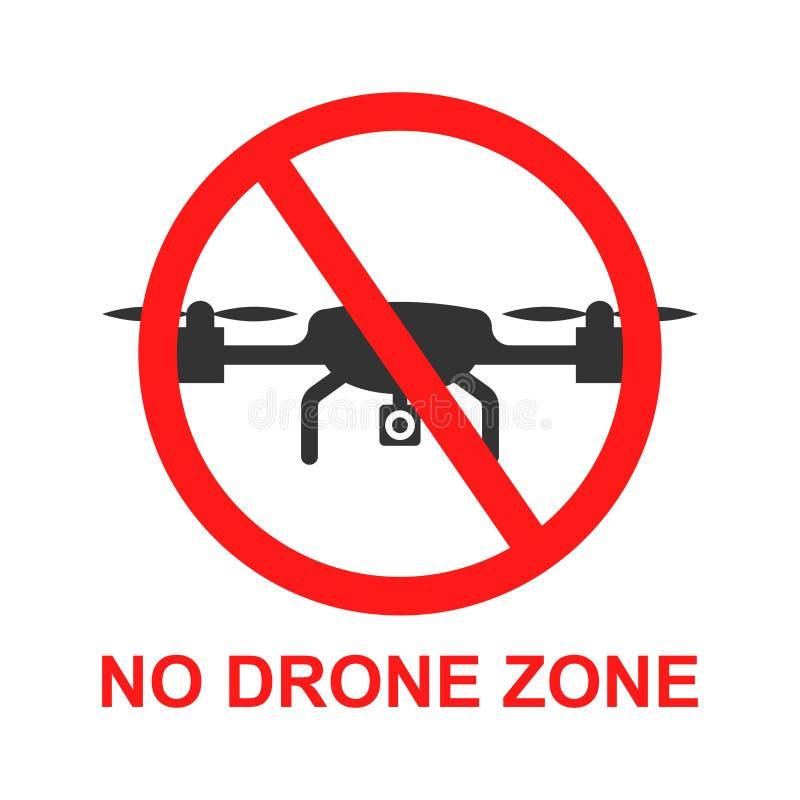 Отсутствие значка знака зоны трутня в плоском стиле Иллюстрация вектора запрета Quadrocopter на белой изолированной предпосылке З бесплатная иллюстрация