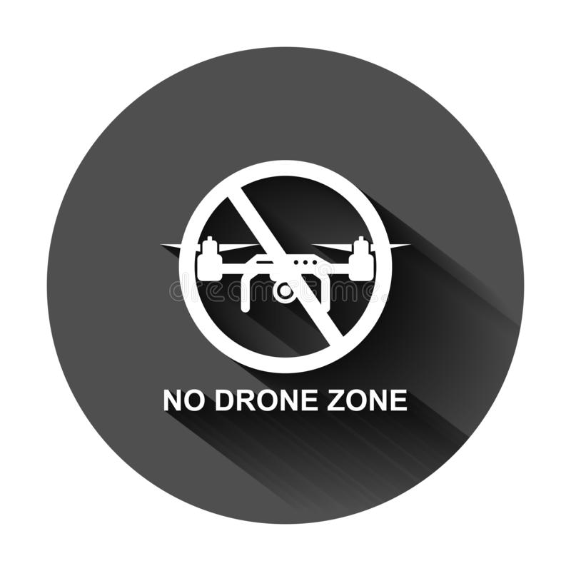 Отсутствие значка знака зоны трутня в плоском стиле Иллюстрация вектора запрета Quadrocopter на черной круглой предпосылке с длин иллюстрация вектора