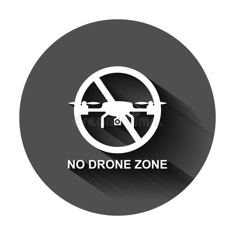 Отсутствие значка знака зоны трутня в плоском стиле Иллюстрация вектора запрета Quadrocopter на черной круглой предпосылке с длин иллюстрация штока