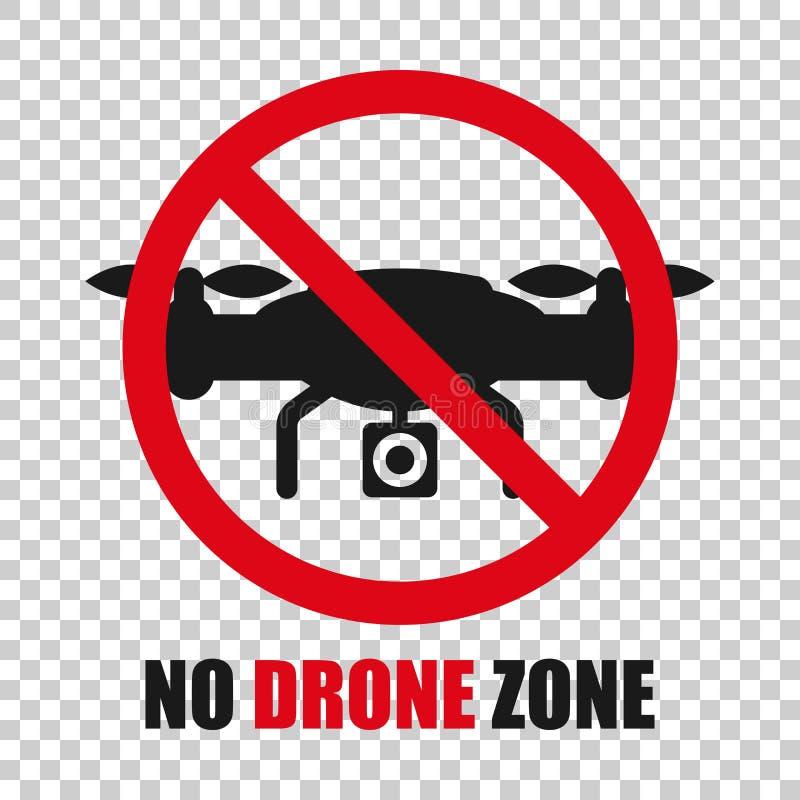 Отсутствие значка знака зоны трутня в прозрачном стиле Иллюстрация вектора запрета Quadrocopter на изолированной предпосылке Запр иллюстрация вектора