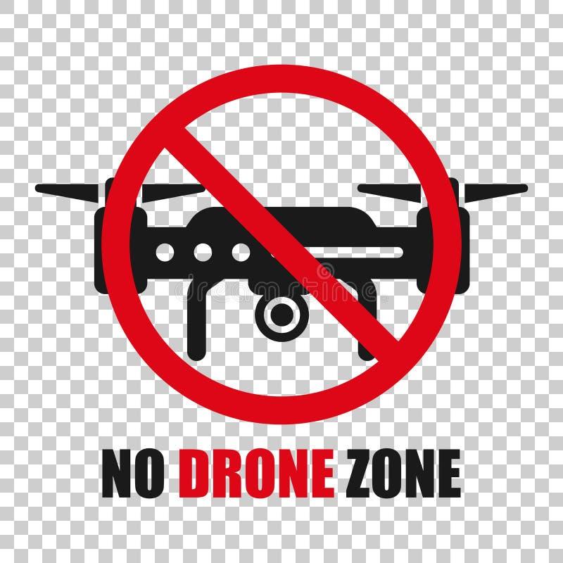 Отсутствие значка знака зоны трутня в прозрачном стиле Иллюстрация вектора запрета Quadrocopter на изолированной предпосылке Запр бесплатная иллюстрация
