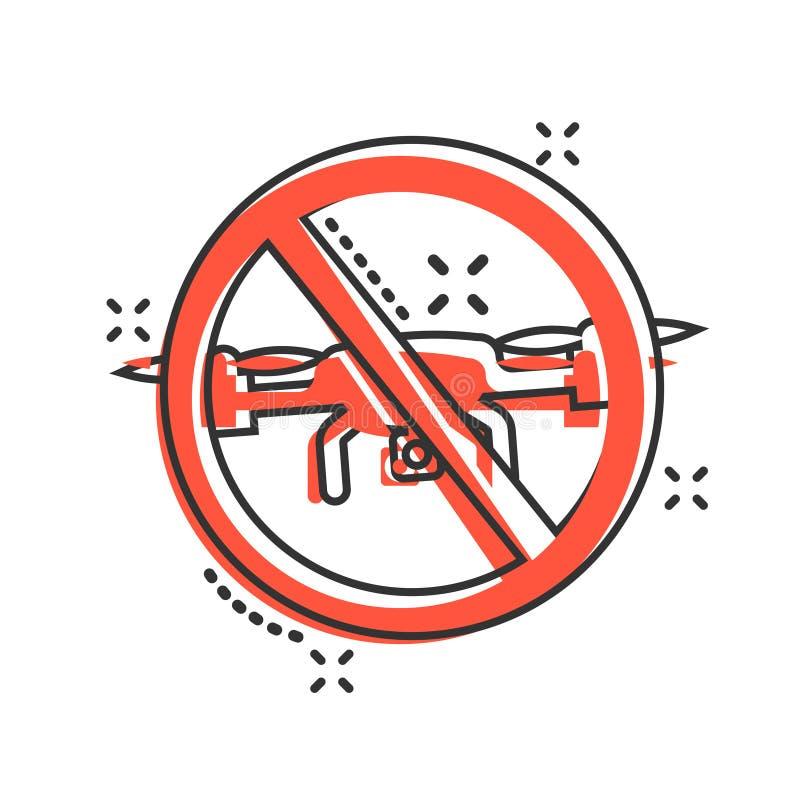 Отсутствие значка знака зоны трутня в шуточном стиле Иллюстрация мультфильма вектора запрета Quadrocopter на белой изолированной  иллюстрация вектора