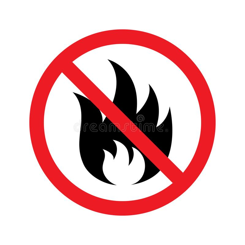 Отсутствие значка знака огня также вектор иллюстрации притяжки corel иллюстрация штока