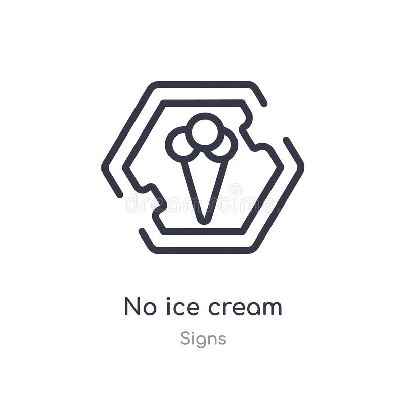 отсутствие значка плана мороженого изолированная линия иллюстрация вектора от собрания знаков editable тонкий ход отсутствие знач иллюстрация вектора