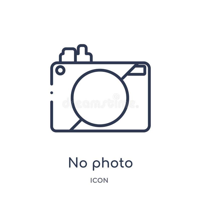 Отсутствие значка фото от собрания плана музея Тонкая линия отсутствие значка фото изолированного на белой предпосылке иллюстрация штока