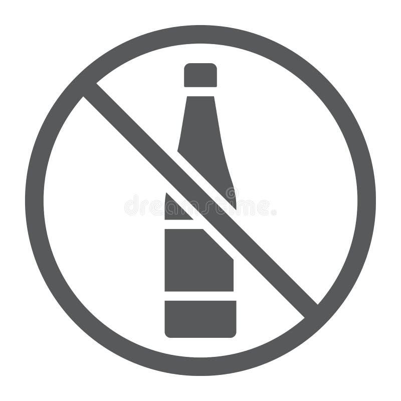 Отсутствие значок, напиток и предупреждение глифа алкоголя, знак запрещенный алкоголем, векторные графики, твердая картина на бел иллюстрация штока