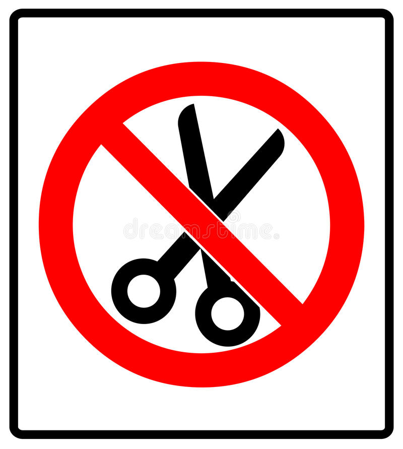 Отсутствие иллюстрации вектора значка знака запрета ножниц иллюстрация вектора