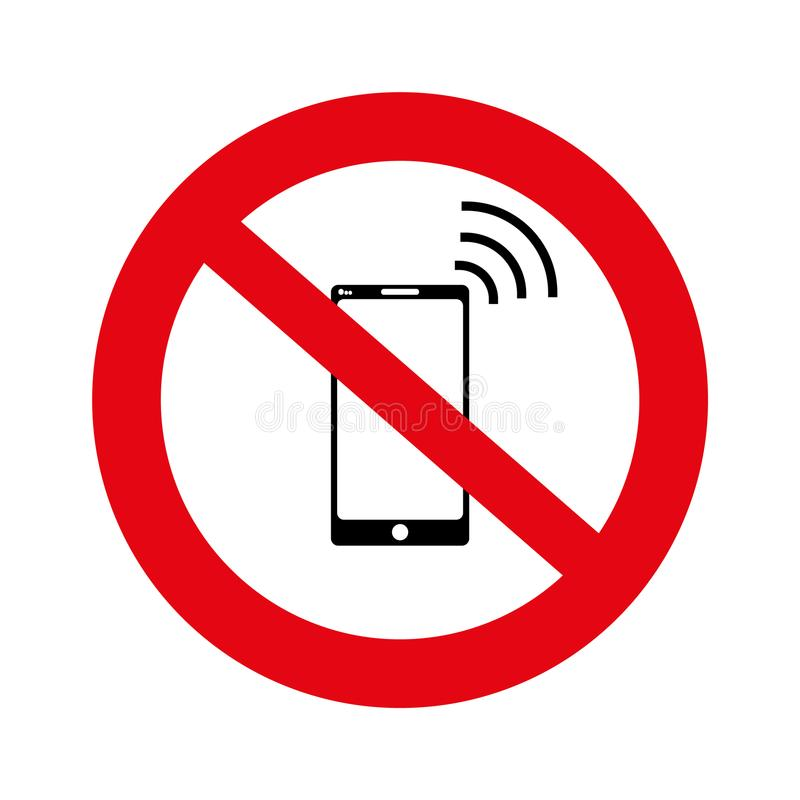 Отсутствие клетки, отсутствие знамени знака мобильного телефона, отсутствие знака телефона на белой предпосылке, иллюстрации, век иллюстрация штока