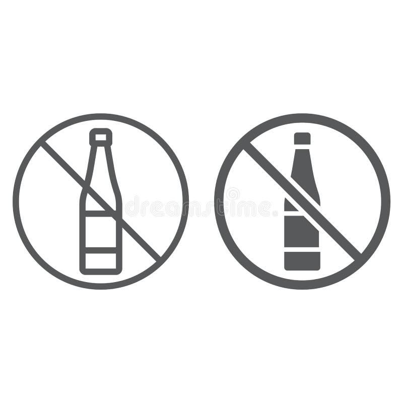 Отсутствие линия алкоголя и значок глифа, напиток и предупреждение, знак запрещенный алкоголем, векторные графики, линейная карти иллюстрация вектора