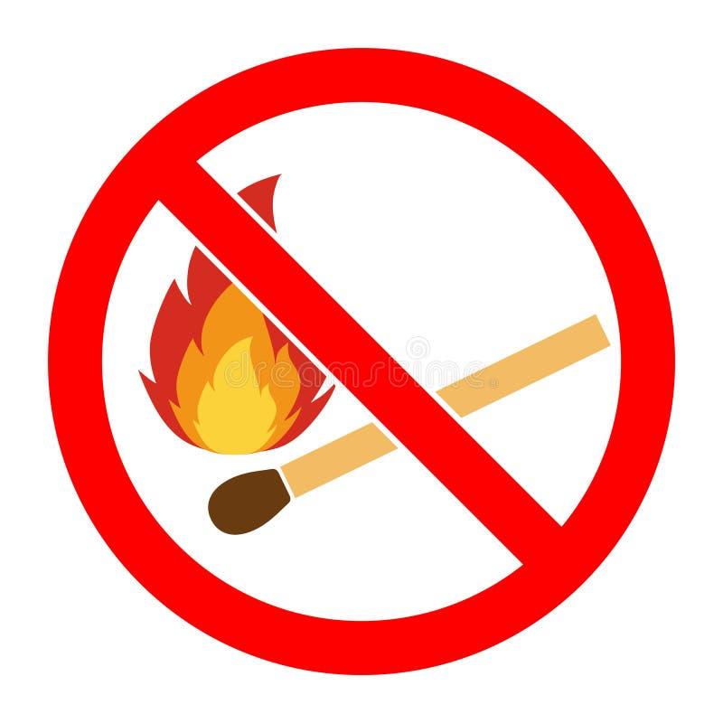 Отсутствие огня, отсутствие знака открытого пламени Отсутствие знака пожара Запрещает значок открытого пламени опасности иллюстрация вектора
