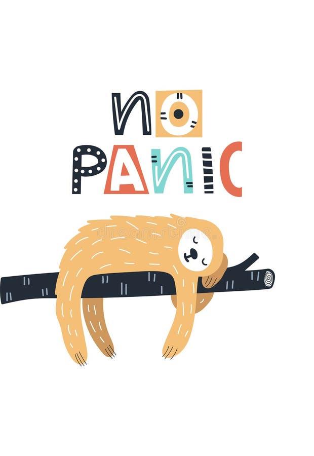 Отсутствие паники - милой и дети потехи вручают вычерченный плакат питомника с животным и литерностью лени Иллюстрация вектора цв иллюстрация вектора