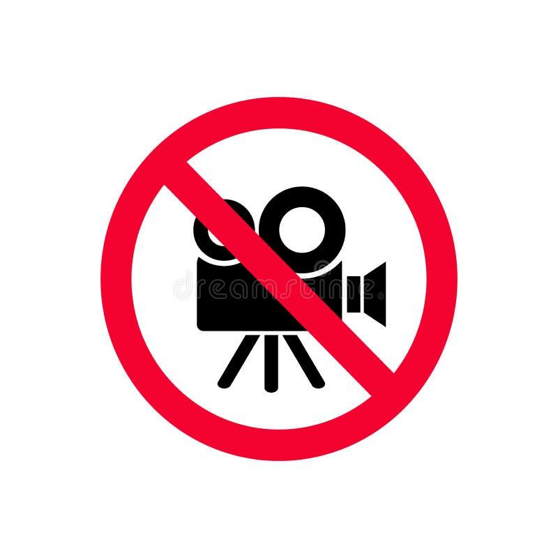 Отсутствие позволенных видеокамер Отсутствие знака запрета записи красного отсутствие видео иллюстрация штока