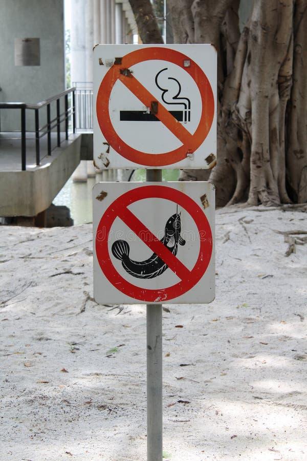 Отсутствие рыбной ловли знака для некурящих и стоковое фото rf