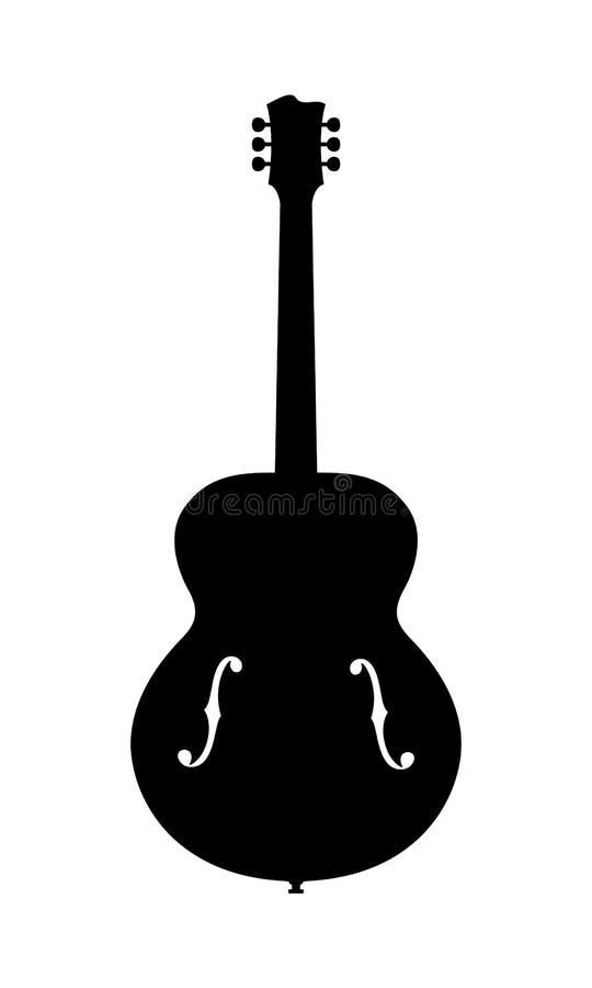 Отсутствие силуэта гитары джаза имени стоковая фотография
