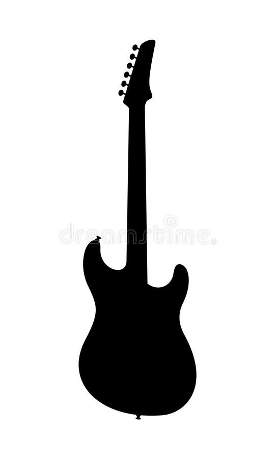 Отсутствие силуэта электрической гитары имени стоковое изображение