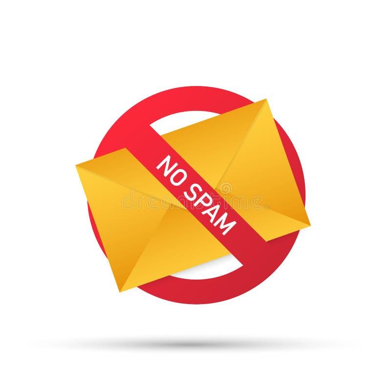 Отсутствие спама с конвертом Предупреждение электронной почты спама Концепция вируса, пиратства, рубить и безопасности Конверт со бесплатная иллюстрация