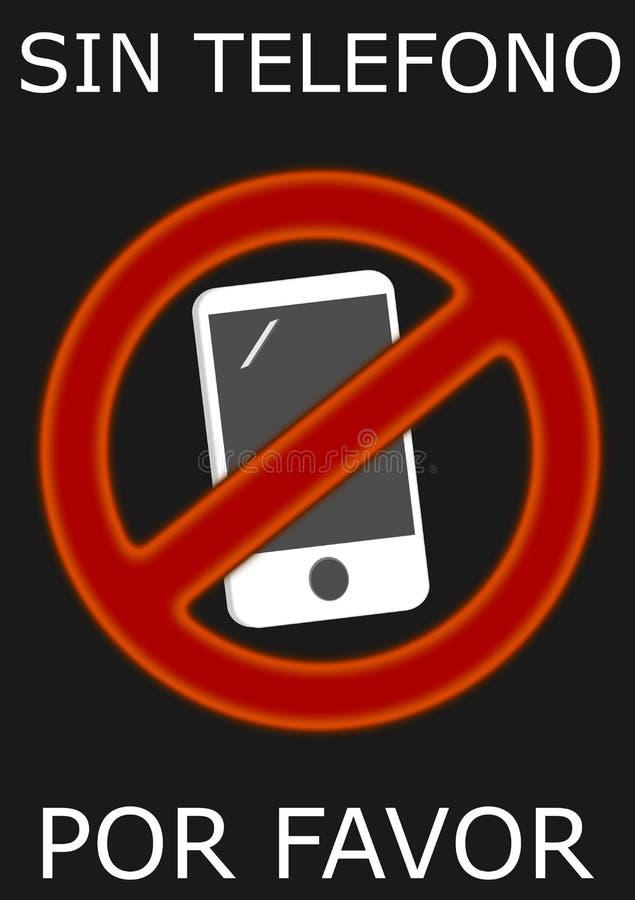 Отсутствие телефона, пожалуйста Знак иллюстрация вектора