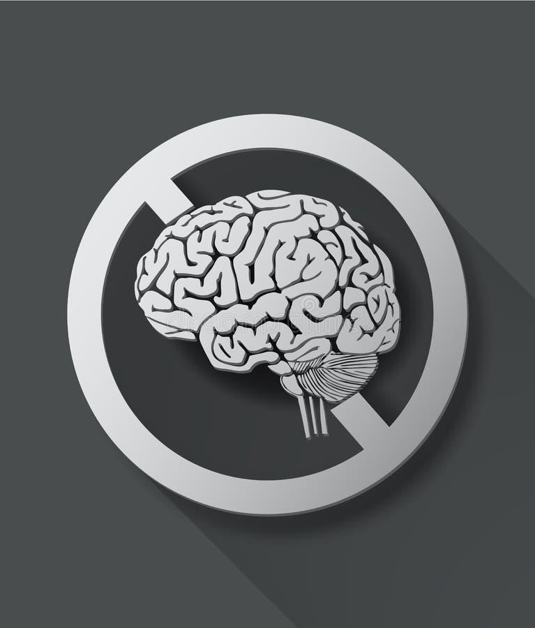 Отсутствие думая знака с мозгом иллюстрация вектора