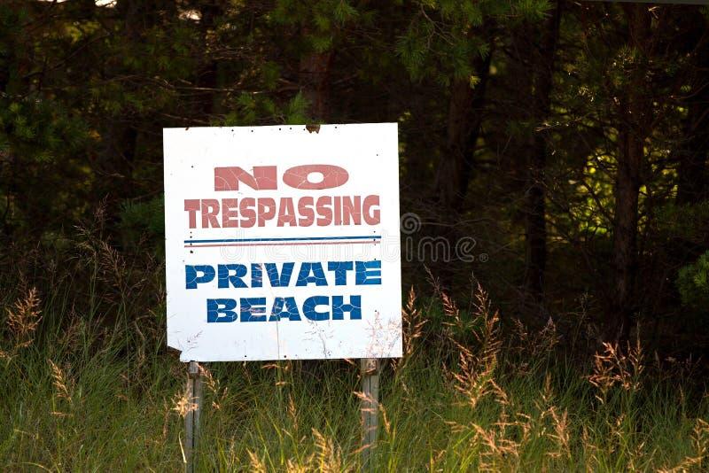 Отсутствие Trespassing/частный знака пляжа стоковое фото rf