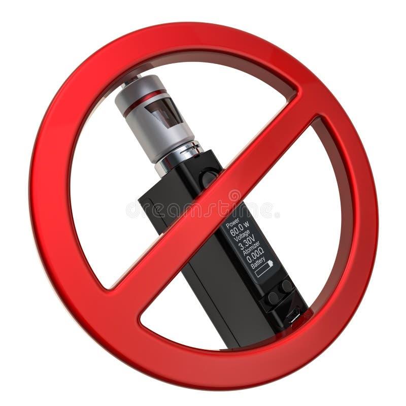 Отсутствие vaping концепции Запрещенный знак с e-сигаретой Mod коробки, переводом 3D иллюстрация вектора