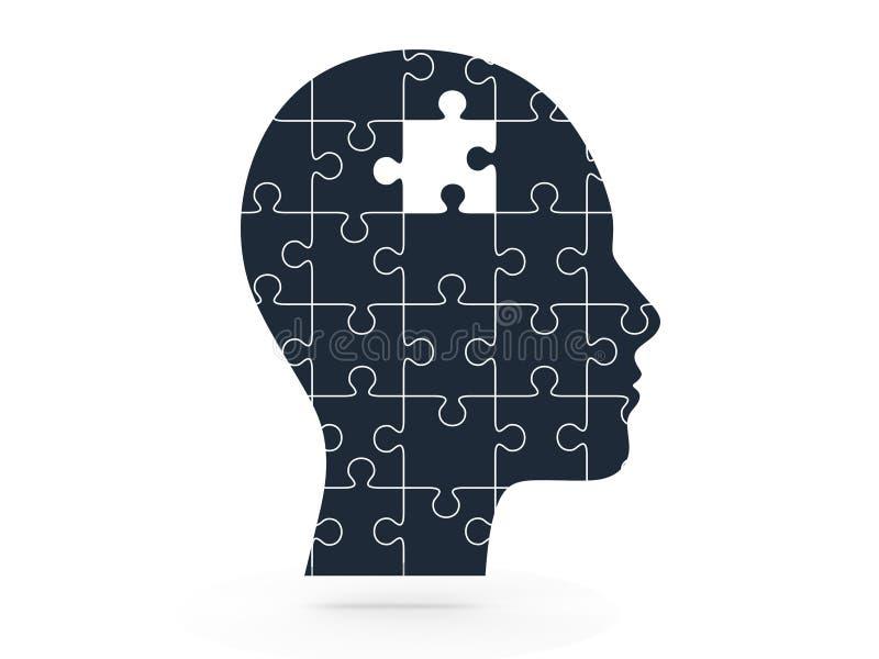 Отсутствующая головоломка и человеческая голова иллюстрация штока