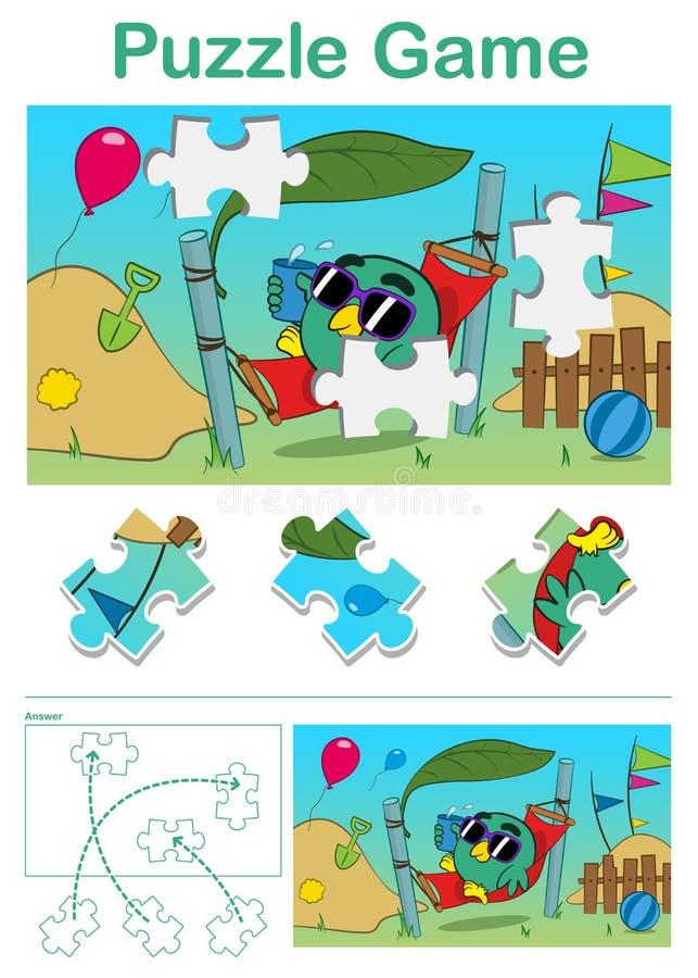 Отсутствующая игра головоломки части с птицей в гамаке бесплатная иллюстрация