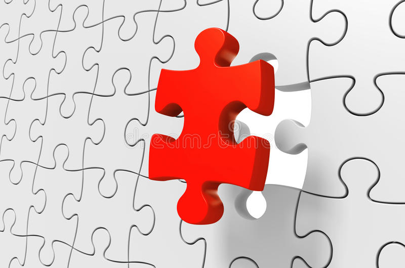 Отсутствующая красная часть головоломки будучи введенным для того чтобы разрешить сложную возможность, перевод 3D иллюстрация штока