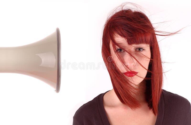 отсутствующий дунутый мегафон волос девушок стоковое изображение