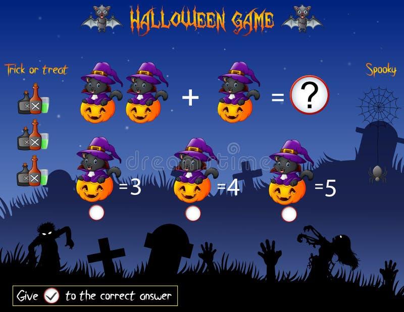 Отсчет игры тыква ведьмы кота в теме хеллоуина бесплатная иллюстрация