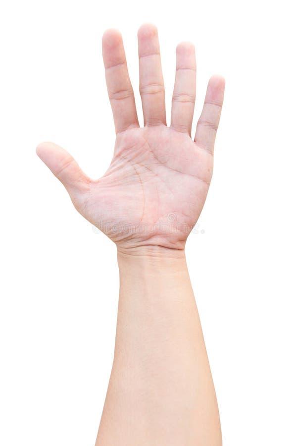 Отсчет показа 5 руки человека изолированный на белой предпосылке с путем клиппирования стоковое фото