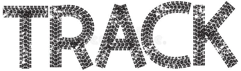 Отслеживайте текст при письма сделанные от следов автошины мотоцикла иллюстрация штока