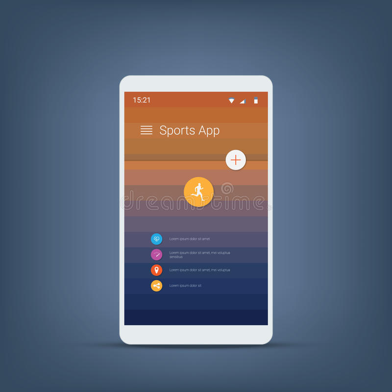 Отслежыватель фитнеса или шаблон значков пользовательского интерфейса app спорт для smartphone иллюстрация вектора