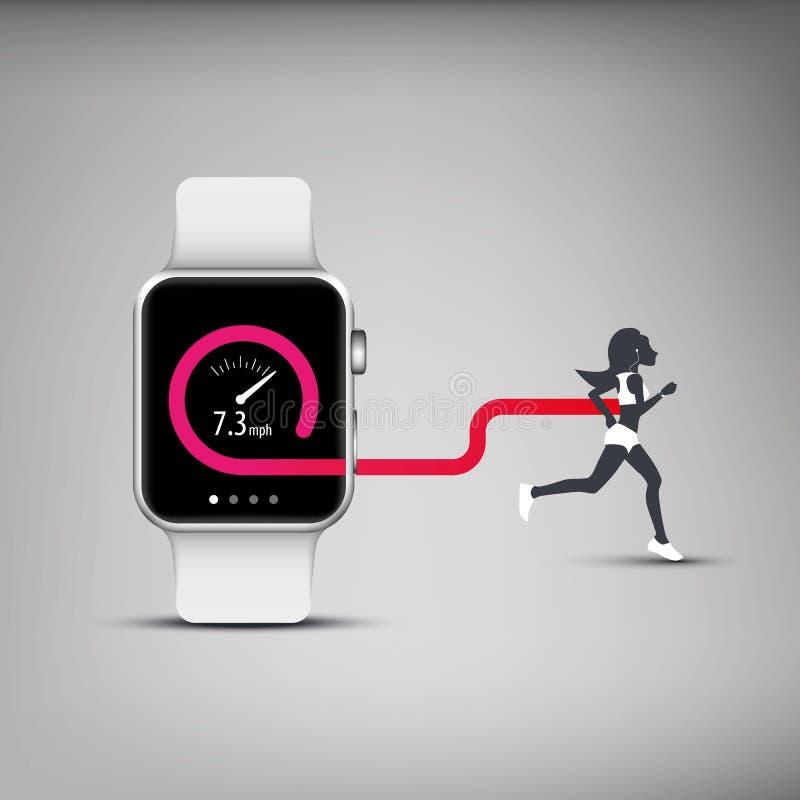 Отслежыватель app фитнеса для умной концепции вахты с иллюстрация вектора