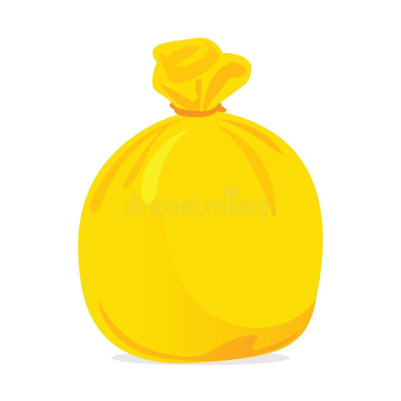 Отход желтой сумки пластиковый, иллюстрация мешка для мусора сумок от иллюстрация вектора