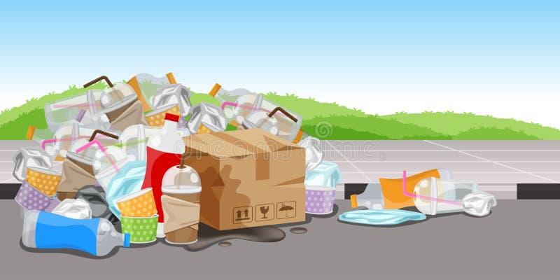 Отход отброса серий пластиковый на поле дорожки, много коробка бумаги бутылки погани и стеклянные пластиковые соломы отход, серии иллюстрация вектора