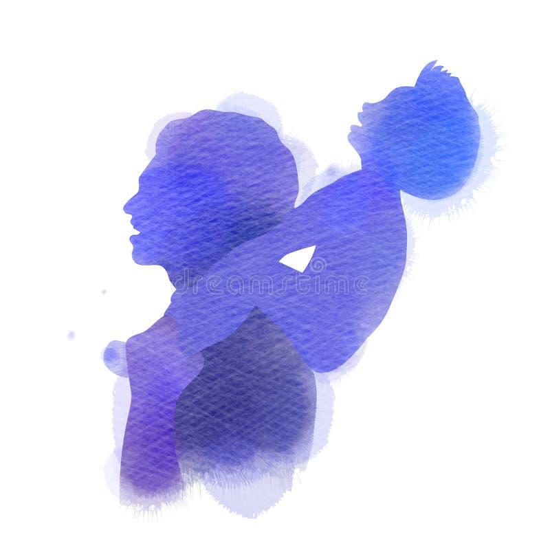 _отц с его ребенк r Отец нося его сына на его плечах Стиль акварели r иллюстрация вектора
